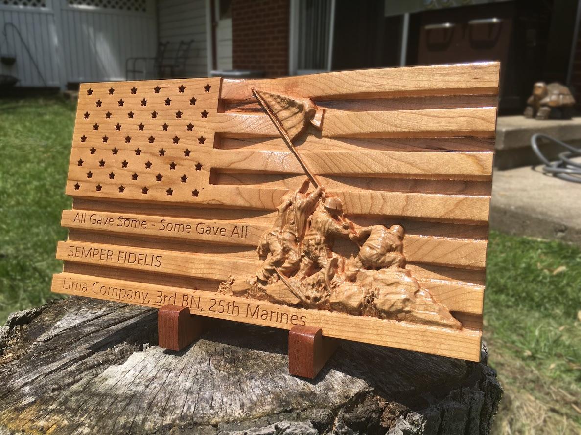 Iwo Jima Marines Wooden Carved Flag