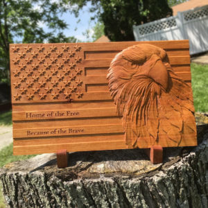 American Flag Wood Sign Patriotic Bald Eagle Carved Wooden Sign