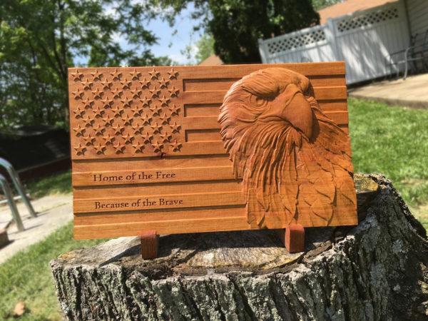 American Flag Wood Sign Patriotic Bald Eagle Carved Wooden Sign