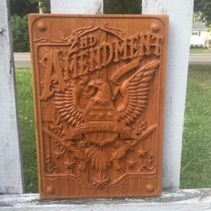 2nd Amendment Right to Bear Arms Wooden Carved Eagle Sign
