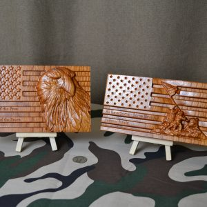 Wooden Mini American Flag Personalized