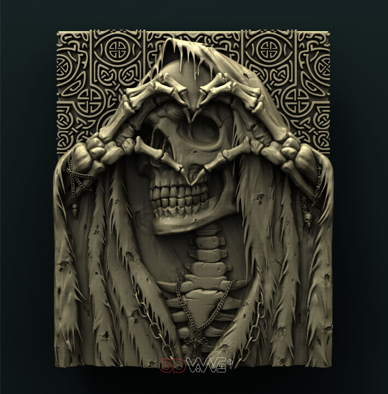 0911 Skull Love Heart